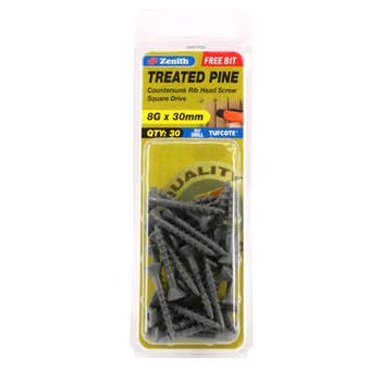 Zenith Screw Treated Pine Tufcote Square Drive 8G x 30mm - 30 Pack