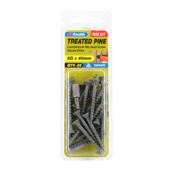 Zenith Screw Treated Pine Tufcote Square Drive 8G x 40mm - 25 Pack