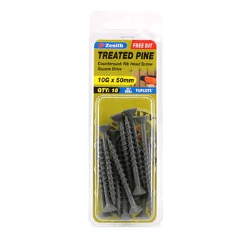 Zenith Screw Treated Pine Tufcote Square Drive 10G x 50mm - 18 Pack