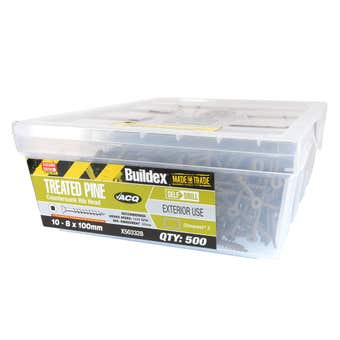 Buildex® Treated Pine Screw Square Drive Countersunk 10 - 8 x 100mm - 500 Pack