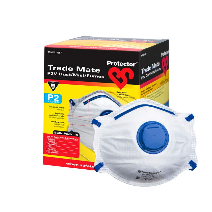 Protector Disposable P2 Valved Respirator - 10 Pack