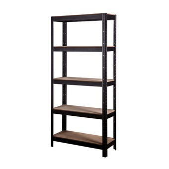 Storage Geelong 5 Tier Shelving Unit Black 1805 x 825mm