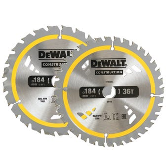 DeWALT Construction Circular Saw Blade 184mm 24/36T - 2 Pack