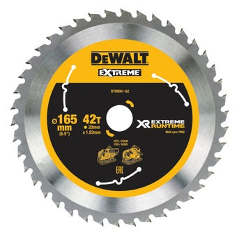 DeWALT Extreme Runtime Circular Saw Blade 165mm 42T
