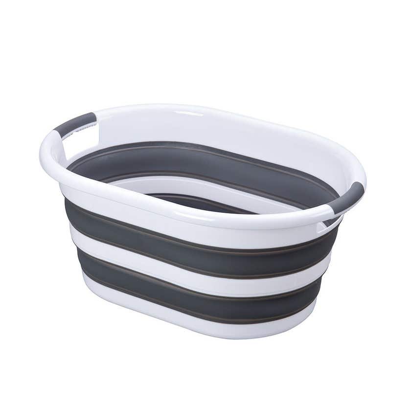 Collapsible Laundry Basket Grey & White 37L