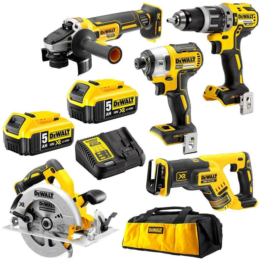 DeWALT 18V 5.0Ah 5 Piece Brushless Combo Kit XR DCK560P2-XE