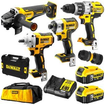 DeWALT 18V 5.0Ah 4 Piece Brushless Combo Kit XR DCK496P2-XE