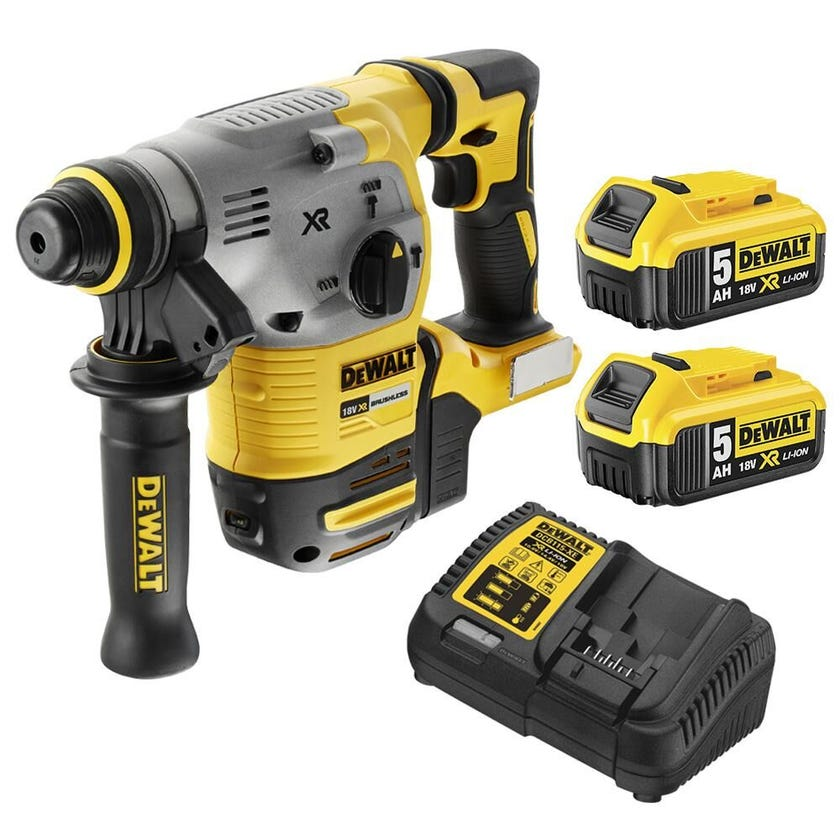 DeWALT 18V 5.0Ah XR Li-Ion SDS-Plus Brushless Cordless Rotary Hammer Drill Combo Kit DCH283P2-XE
