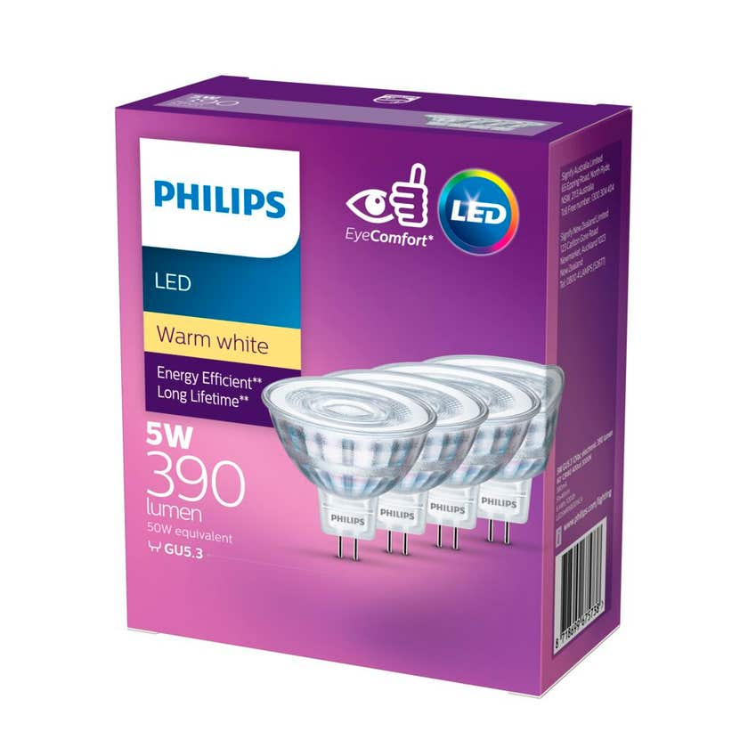 Philips LED Downlight MR16 Spots 5W (50W) 390lm - 4 Pack