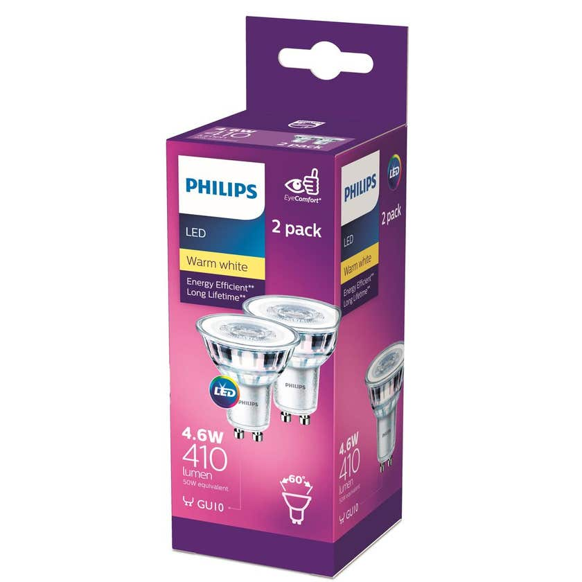 Philips LED Downlight GU10 Classic 4.6W (50W) 410lm - 2 Pack