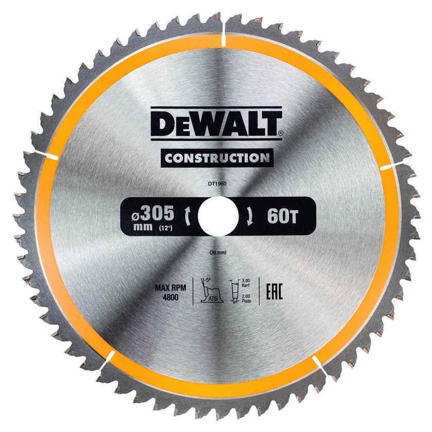 DeWALT Construction Circular Saw Blade 60T 305mm