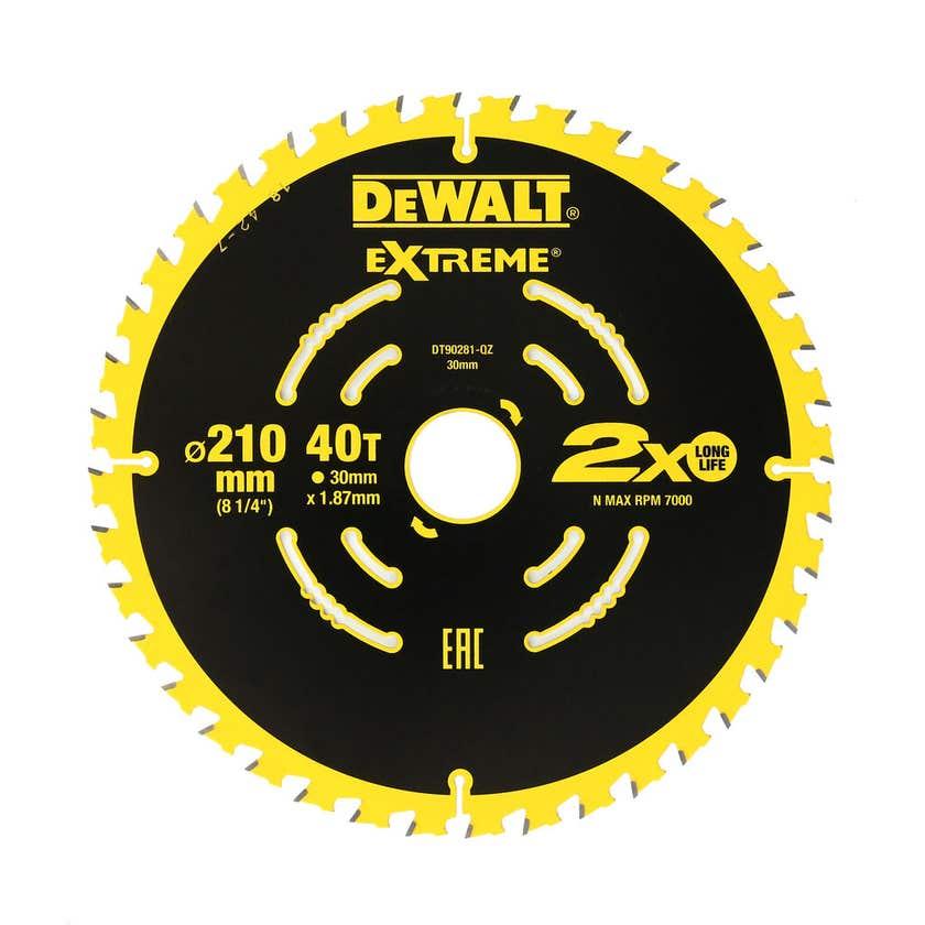 DeWALT Extreme 2x Life Circular Saw Blade 40T 210mm