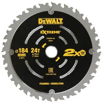 DeWALT Extreme 2x Life Circular Saw Blade Demolition 24T 184mm