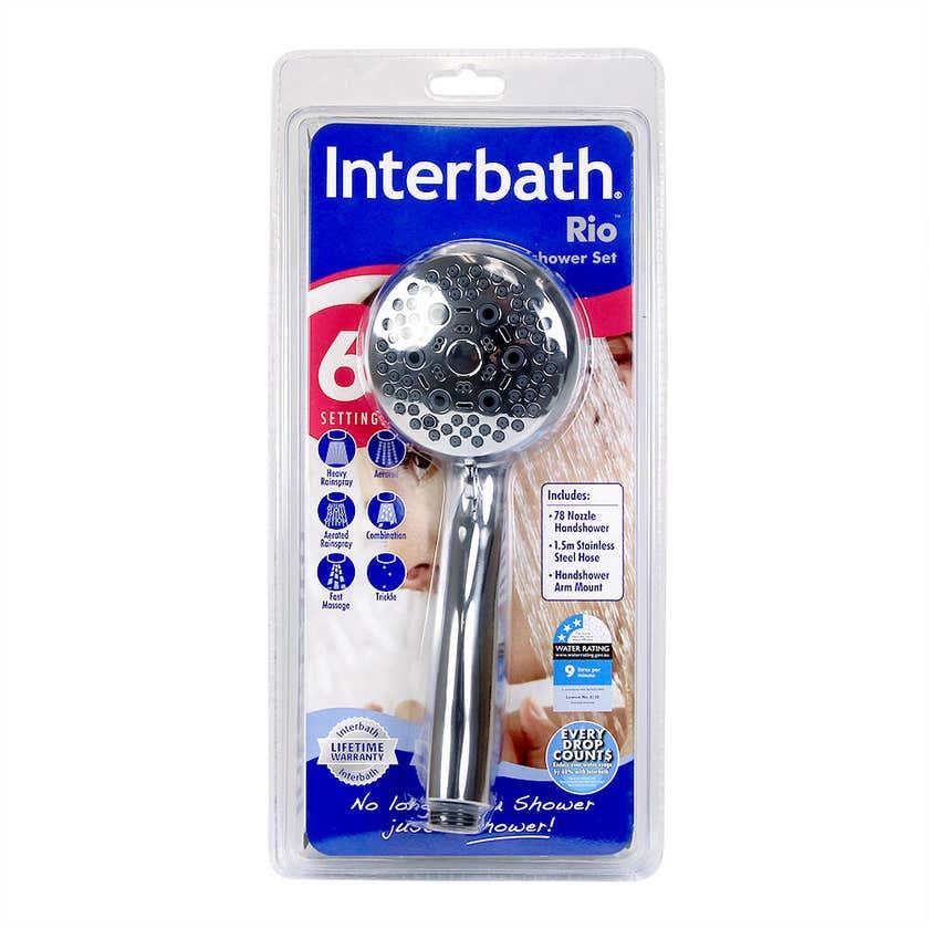 Interbath Rio 6-function 78 Nozzle Hand Shower Set Chrome