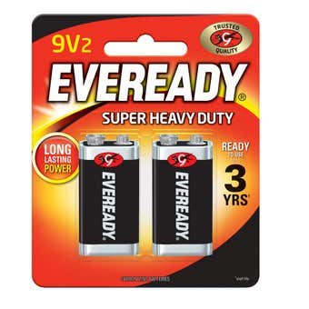 Eveready Super Heavy Duty Black Battery 9V - 2 Pack