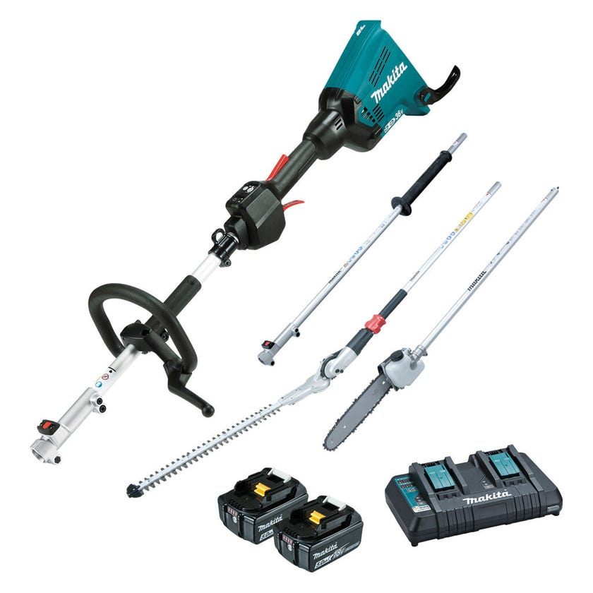 Makita 36V (18V x 2) Brushless Multi-Function Power Head, Pole Saw and Hedge Trimmer Kit DUX60PSHPT2