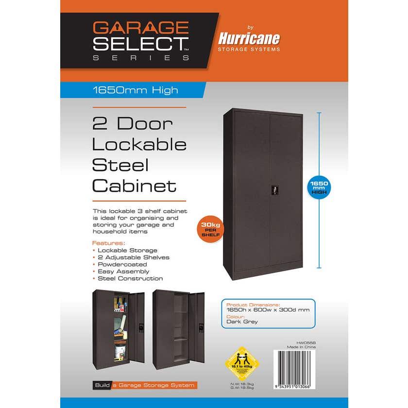 Hurricane 2 Door 3 Shelf Lockable Steel Cabinet