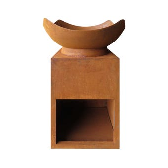 Firepit with Storage Corten Steel 88cm