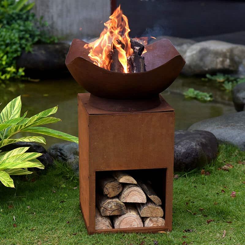 Firepit with Storage Corten Steel 88cm