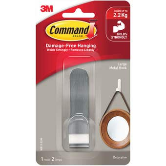 Command Adhesive Metal Wall Hook Large - 1 Pack