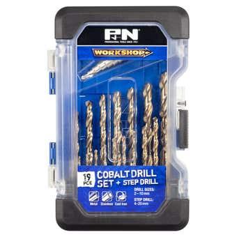 P&N Workshop Cobalt Drill Set + Step Drill - 19 Piece