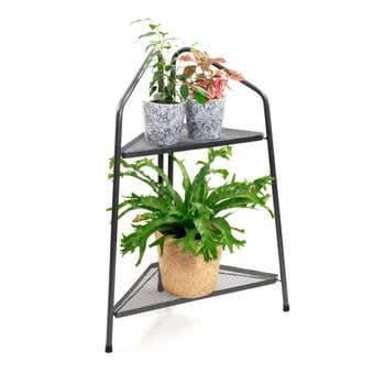 Corner 2 Shelf Plant Stand Black