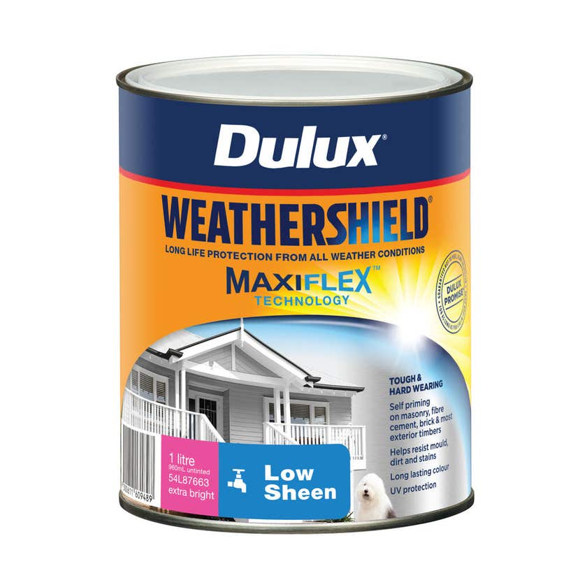 Dulux Weathershield Exterior Low Sheen Extra Bright Base 1L