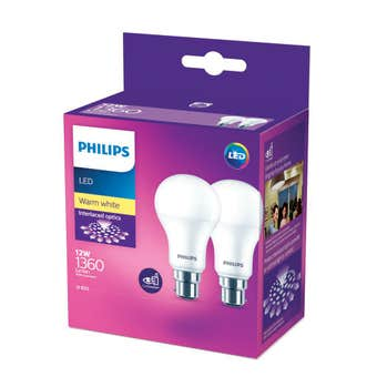 Philips LED Globe BC 12W 1360lm Warm White - 2 Pack