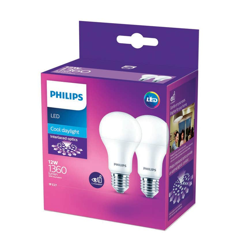 Philips LED Globe ES 12W 1360lm Cool Daylight - 2 Pack