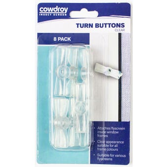 Cowdroy Flyscreen Turn Buttons Clear - 8 Pack