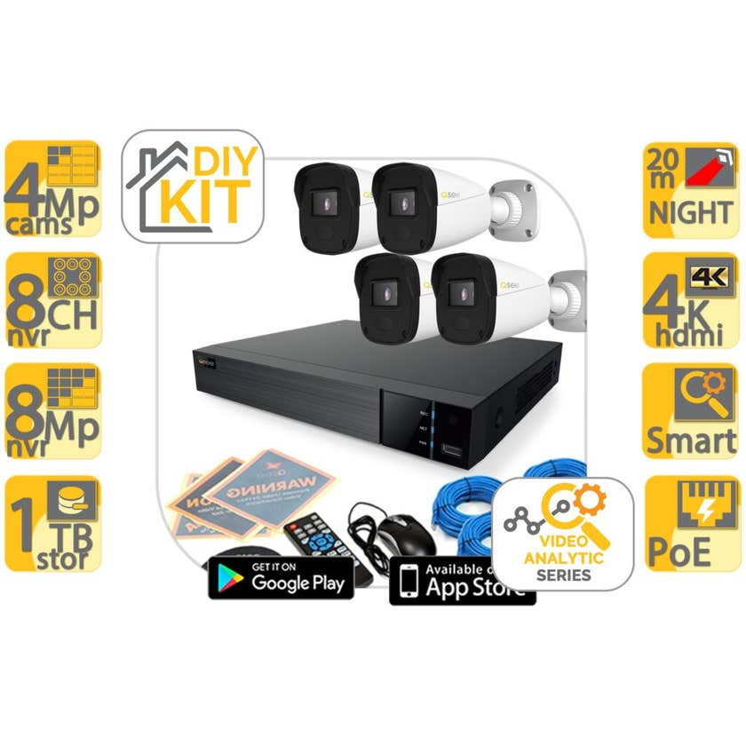 Q-See CCTV Kit 4 Camera SHD with 8 Channel Recorder