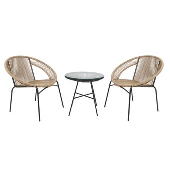 Tahiti 2 Seater Wicker Cafe Set