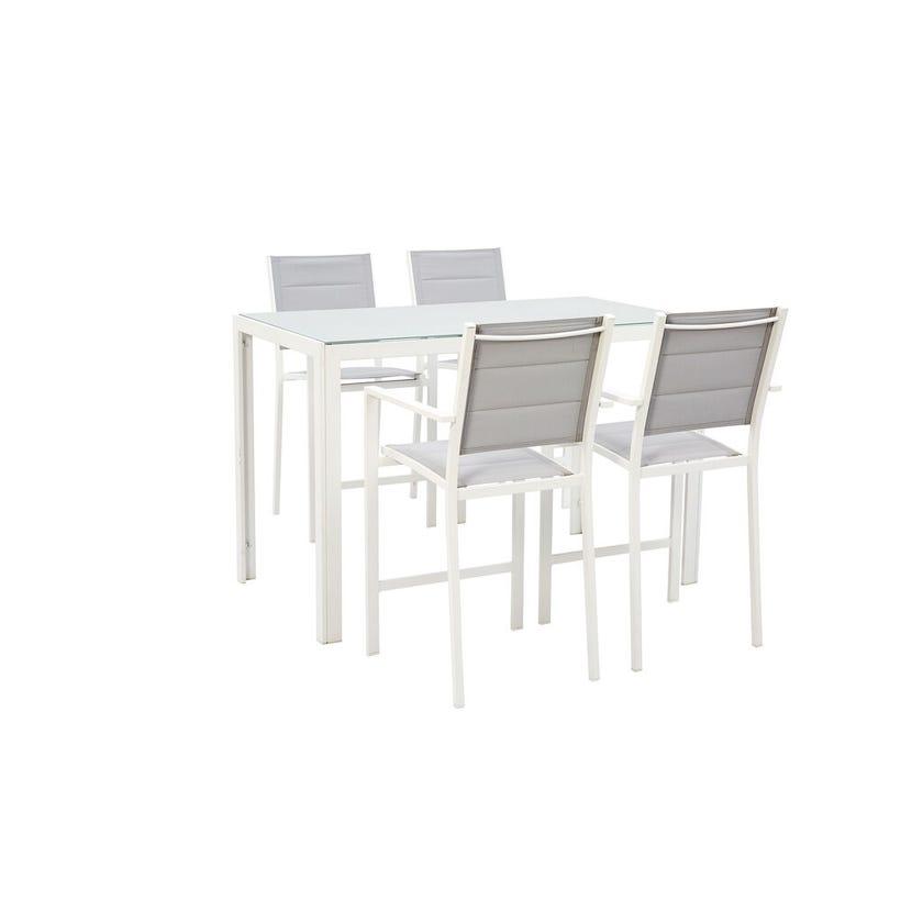 Alexandra Aluminium Bar Setting 4 Seater White