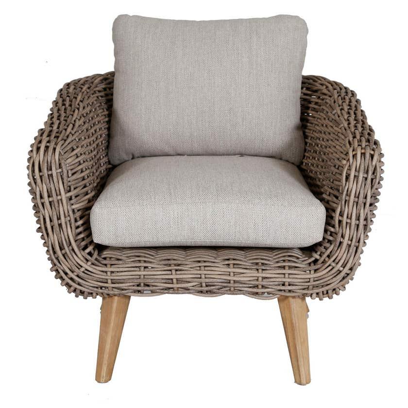 Maui 4 Seater Wicker Lounge Grey