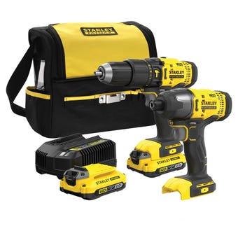 Stanley FatMax V20 Hammer Drill & Impact Driver Kit SFMCK465D2S-XE
