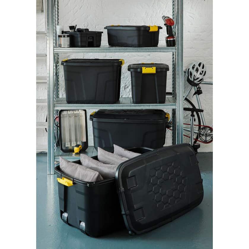 Storage Trunk With Wheels Black 75L