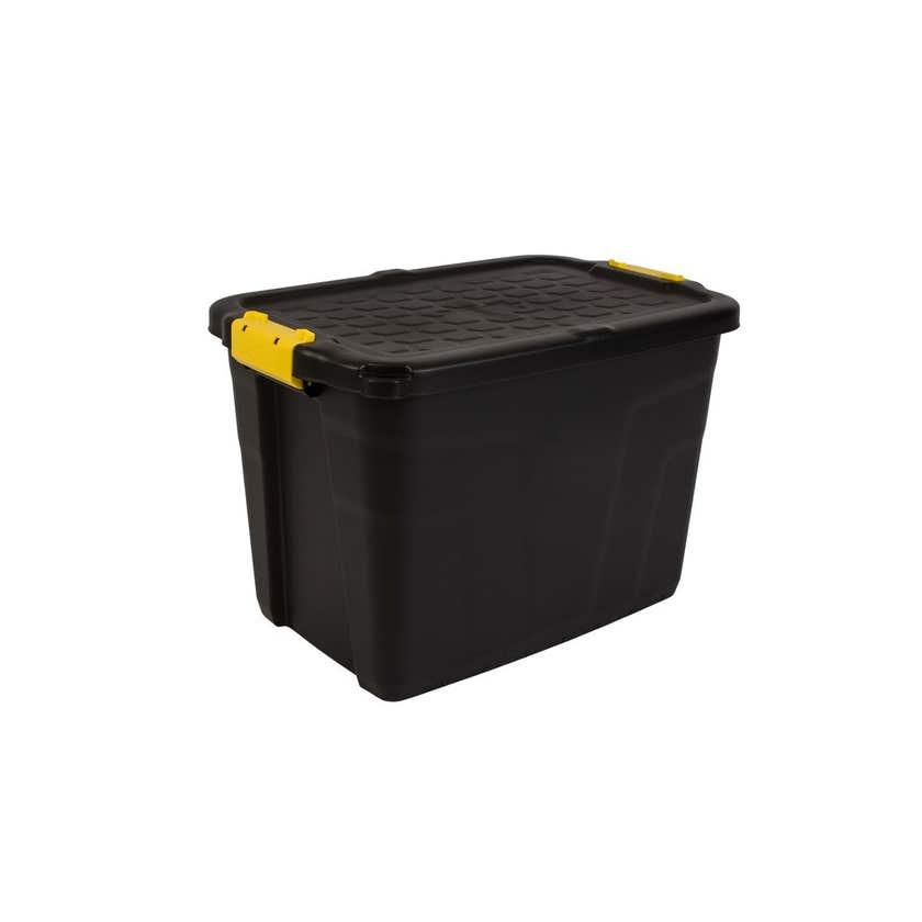 Heavy Duty Storage Box with Lid Black 60L