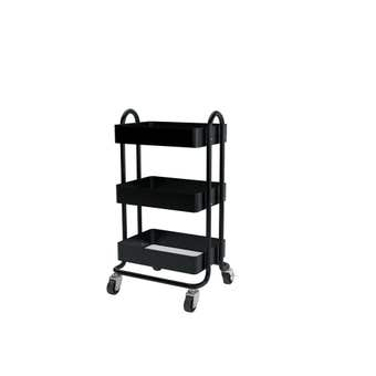Trolley Utility With Handles 3 Tier Black