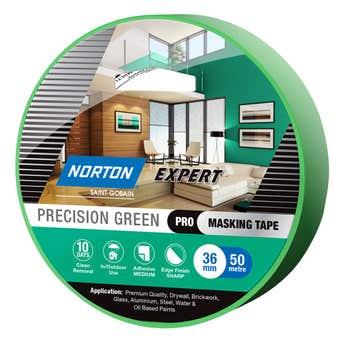 Norton Masking Tape Precision Green 10 Day 36mm X 50M