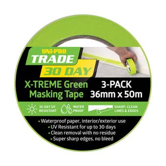 Uni-Pro Trade 30 Day X-TREME Green Masking Tape 36mm x 50m - 3 Pack