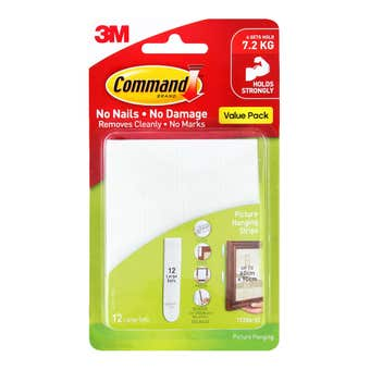 Command Adhesive Picture Hanging Strips White Large - 12 Pack