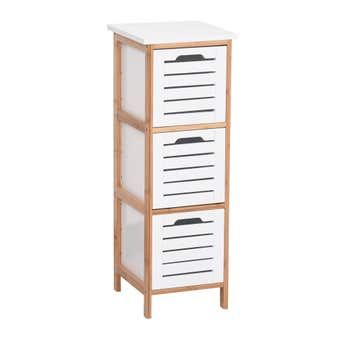 3 Tier Bamboo & MDF Drawer Storage Unit