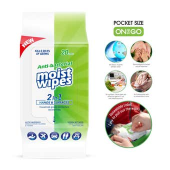 Antibacterial Wet Wipes 2 in 1 Hands and Surfaces - 20 Pack