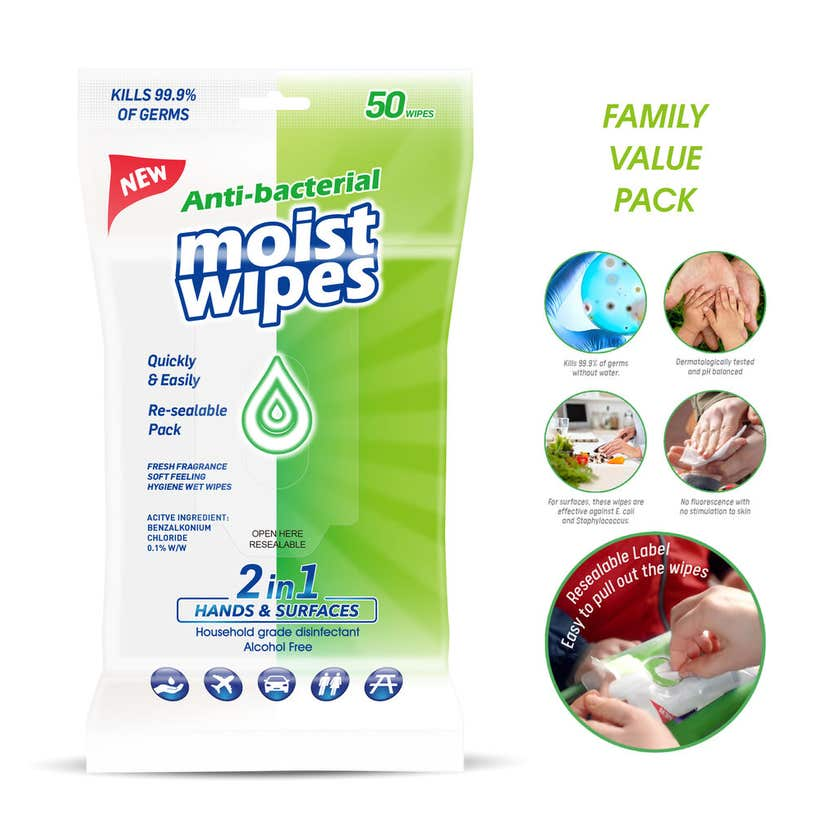 Antibacterial Wet Wipes 2 in 1 Hands and Surfaces - 50 Pack