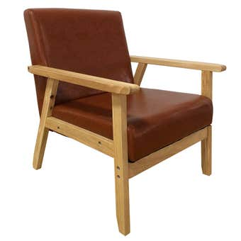 Occasional Chair in Gloss Brown Faux Leather