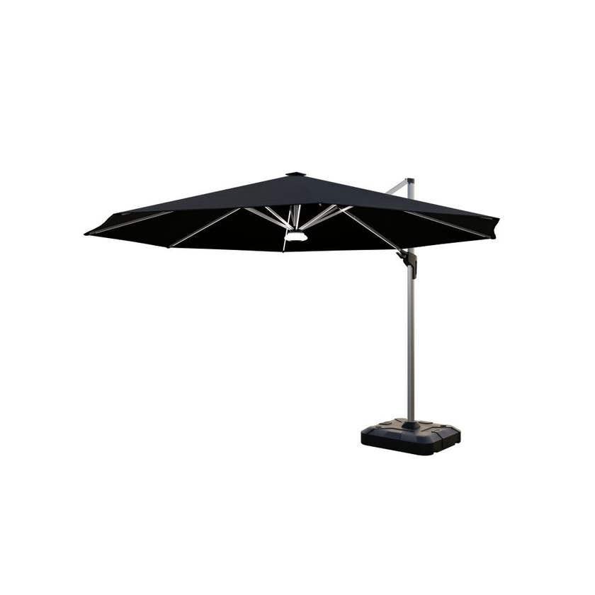 Coolaroo Brighton Solar LED Cantilever Umbrella Round Black 3.5m