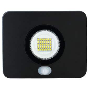 HPM LED Slim Floodlight with Sensor Black 15W