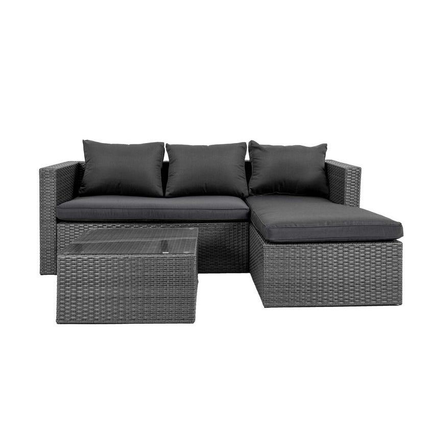 Cordon 3 Seater Wicker Lounge with Chaise and Coffee Table