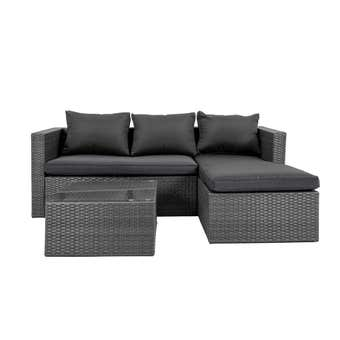 Cordon 3 Seater Wicker Lounge with Chaise & Coffee Table