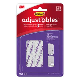 Command™ Adjustables™ Adhesive Repositionable Refill Strips Clear - 18 Pack